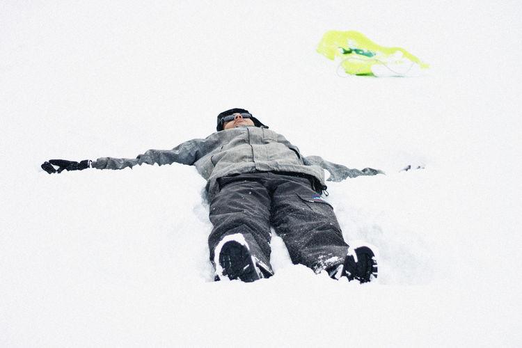 Full length of child on snow covered land