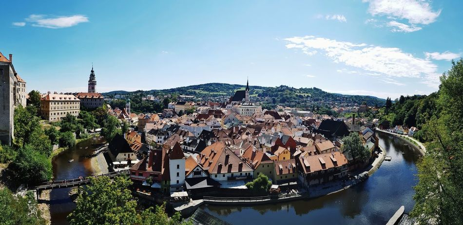 Rooftop Medieval Nopeople Peaceful View View From Above Chesky Krumlov Chez Republic Summer Tourism Tourist Attraction  Unesco Water City Cityscape High Angle View Sky Postcard Waterfront Skyscraper Cloud - Sky Panoramic River Tower Calm