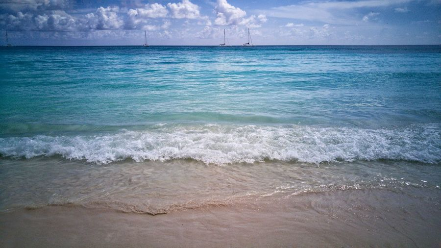 Beach Bum Sea Beach Water Horizon Over Water Beauty In Nature Wave Sand Scenics Nature Outdoors Day Sky No People Tropical Island Life Tranquil Scene Wanderlust Explore Escape Photography Stock Photo Caribbean Sea Wave Rippled Blue