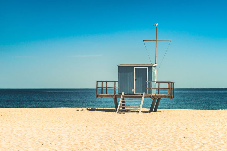 Architecture Beach Beauty In Nature Blue Built Structure Day Horizon Horizon Over Water Hut Land Lifeguard Hut Man Made Structure Nature No People Outdoors Sand Scenics - Nature Sea Sky Tranquil Scene Tranquility Water