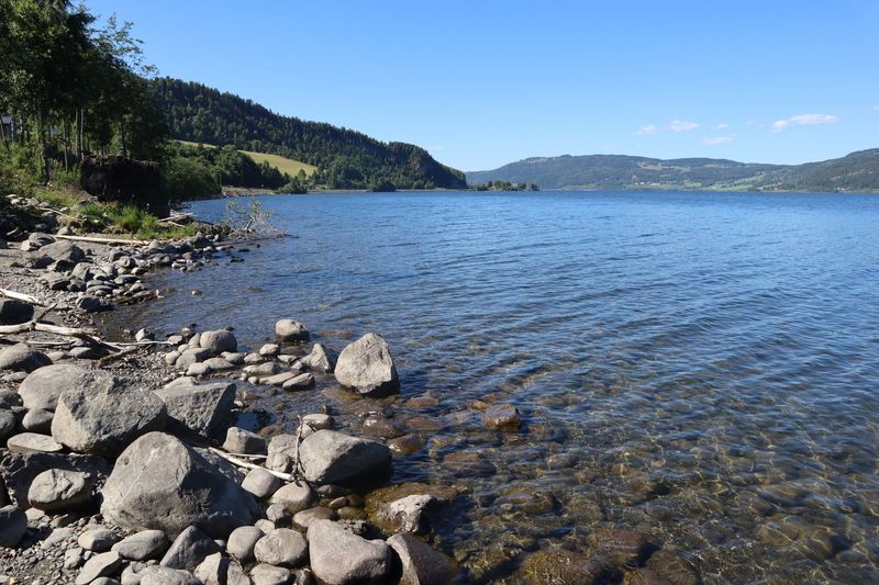 Mjøsa Blue Day Idyllic Lake Nature No People Outdoors Pebble Rock Scenics - Nature Shallow Sky Tranquil Scene Tranquility Water