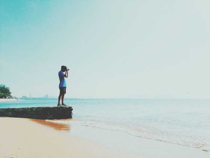 snapshots photograph Photography Take Photos Shutter Beach Nurture  Landscape Sea Sky Water Clear Sky Full Length Sea Beach Blue Standing Summer Side View Sand