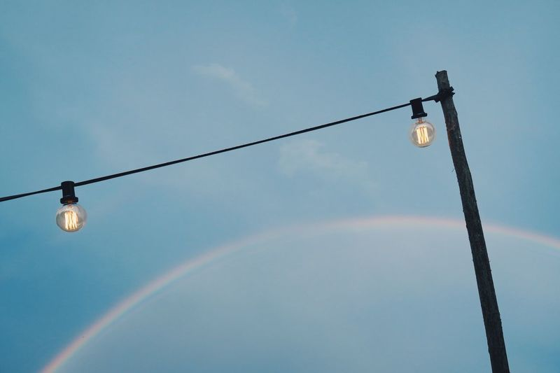🌈💡 Rainbow Rainy Days Light Bulb Light Bulb Sky Blue Sky Rainbow Sky Background Simplicity Decoration Light Design Colour Of Life Two Is Better Than One TakeoverContrast