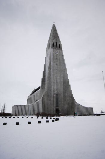 Low Angle View Of Hallgrimskirkja During Winter