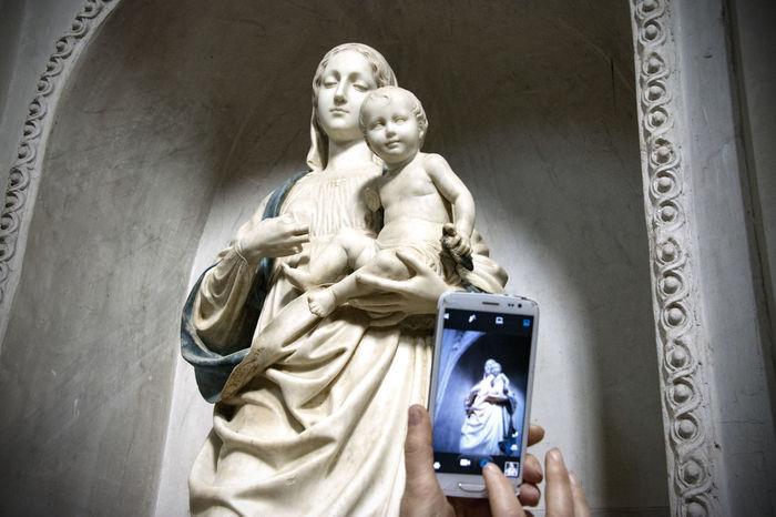 Virgin Mary Human Representation Statue Female Likeness Male Likeness Sculpture Low Angle View Day No People Architecture Outdoors Jesus Christ Italianart Seminara Church Sacred Art