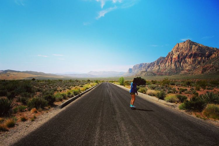 Road The Way Forward One Person Rear View Full Length Day Real People Scenics Transportation Nature Mountain Beauty In Nature Outdoors Men Landscape One Man Only Clear Sky Adult Only Men Redrock Lasvegas We all have to trust in our path of love