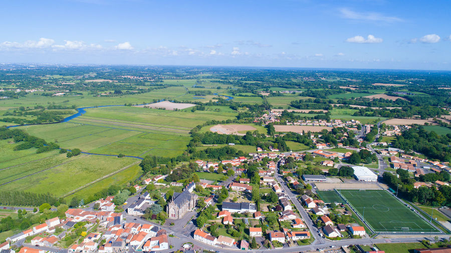 Aerial Photography Aerial View Altitude Drone Bretagne Church City City Center Cityscape Countryside Europe Fields Football Stadium France French Brittany Horizon Over Land Landscape Loire Atlantique Residential Building Rouans Sky And Clouds Tourism Town Travel Destinations Village Ville
