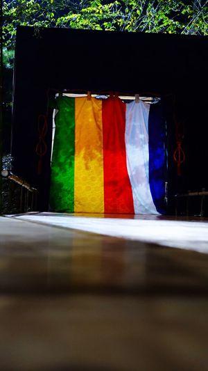 能・狂言の舞台。 Noh Japanese Culture Stage Colorful Curtain