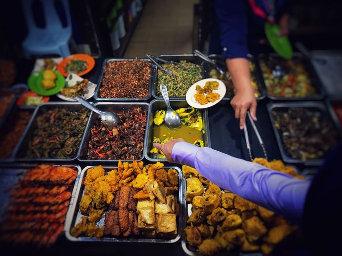 High angle view of people at buffet