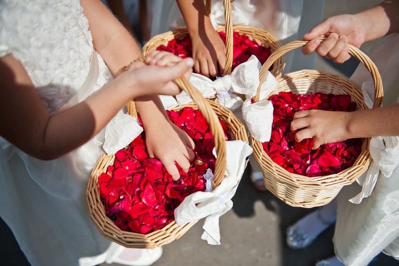 High angle view of girls holding flower baskets during wedding ceremony