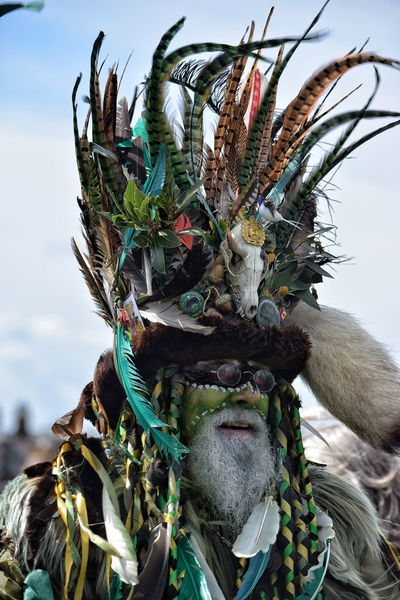 Jack In The Green Green Man May Day 2017 May Day Pagan Festival Costume Man Green Close-up Outdoors Day Portrait Jack In The Green Festival Hastings East Sussex Uk Parade Face Make Up Green Face Celebration May Festival Life Beard Bearded Man
