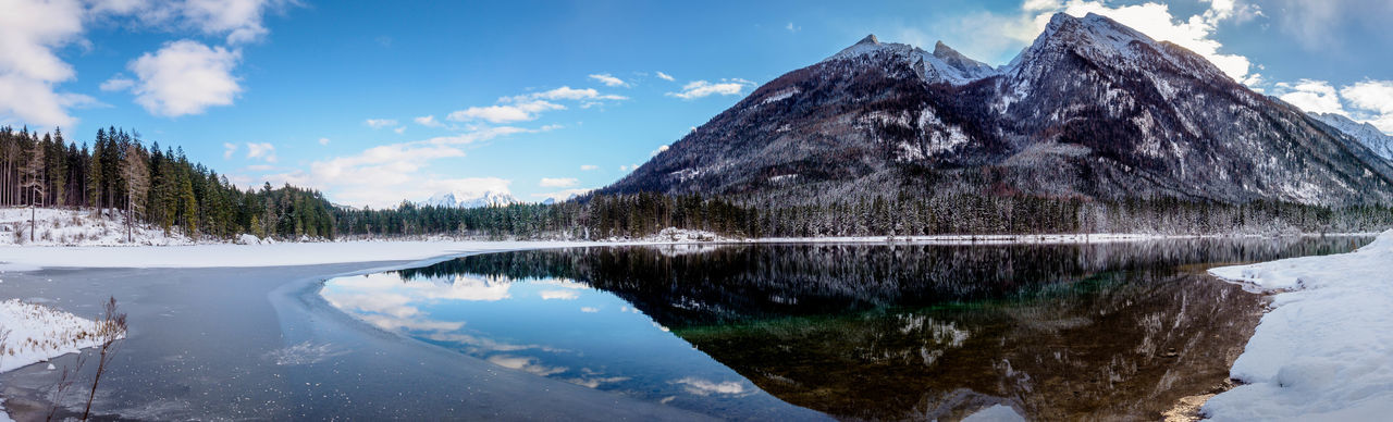 Panoramic view of lake by snowcapped mountain against sky
