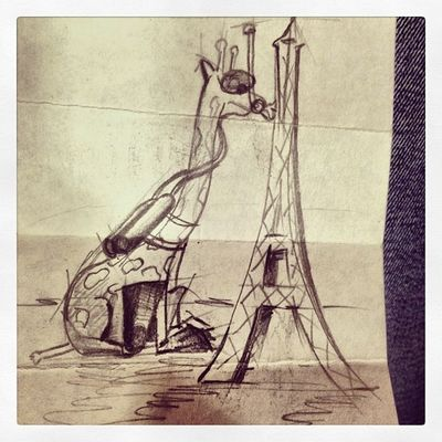 Giraffe with aqualung and flippers kisses the Eiffel Tower. Can you Draw a better one?