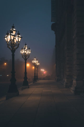 The street lights of the City Hall Austria City City Hall Cityscape EyEmNewHere Misty Rathaus The Week On EyeEm Vienna Wiener Rathaus Architecture City Lights Europe Eyem Best Shots Foggy Morning Illuminated In A Row Mist Misty Morning Moody No People Street Lamp Street Light The Architect - 2018 EyeEm Awards HUAWEI Photo Award: After Dark