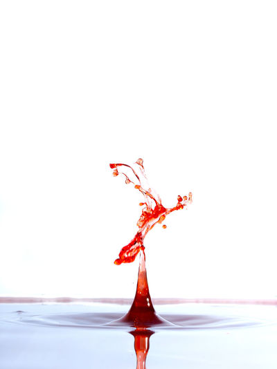 Close-up of red splashing water against white background