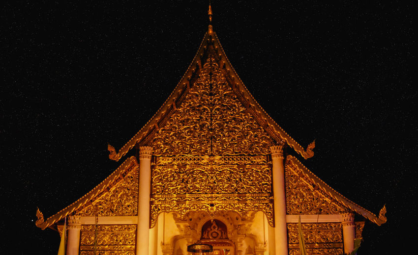Thai lan na temple night scene, Chiangmai Thailand Architecture Night Religion Thai Temple Architecture Stars Night Sky Belief Temple In Thailand Lan Na Architecture Travel Destinations Clear Sky Thailand Chiang Mai | Thailand