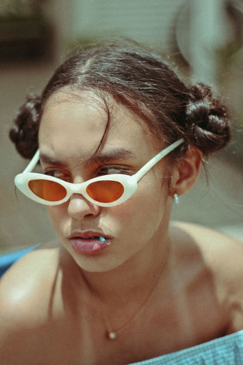 Close-Up Girl Wearing Swimming Goggles