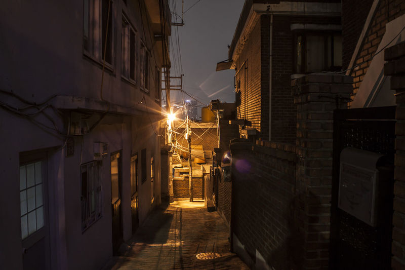 Building Exterior Architecture Built Structure City Lighting Equipment Street Residential District Illuminated Night The Way Forward No People Street Light Narrow Outdoors Footpath House Alley Electric Lamp Building