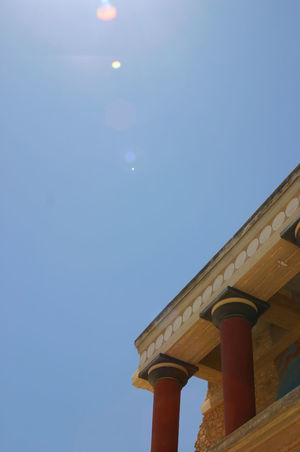 Knossos Architectural Column Architecture Building Exterior Built Structure Clear Sky Day Greece Lens Flare Low Angle View Nature No People Outdoors Palace Phone Background Ruin Sky Sun Flare