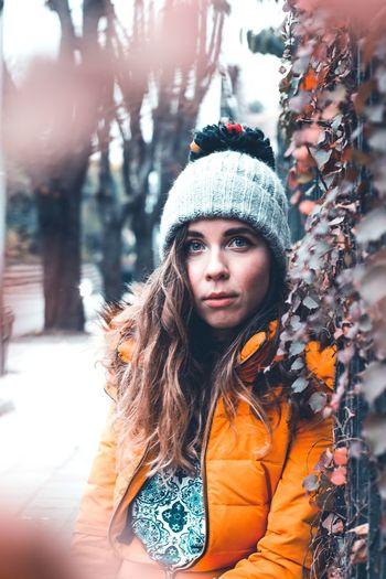 Portrait of woman in snow