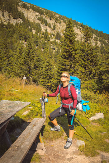 Retezat mountains Adventure Beauty In Nature Blond Hair Day Forest Full Length Happiness Leisure Activity Lifestyles Looking At Camera Mountain Mountain Range Nature One Person Only Women Outdoors Portrait Real People Scenics Smiling Sport Standing Tree Young Adult Young Women