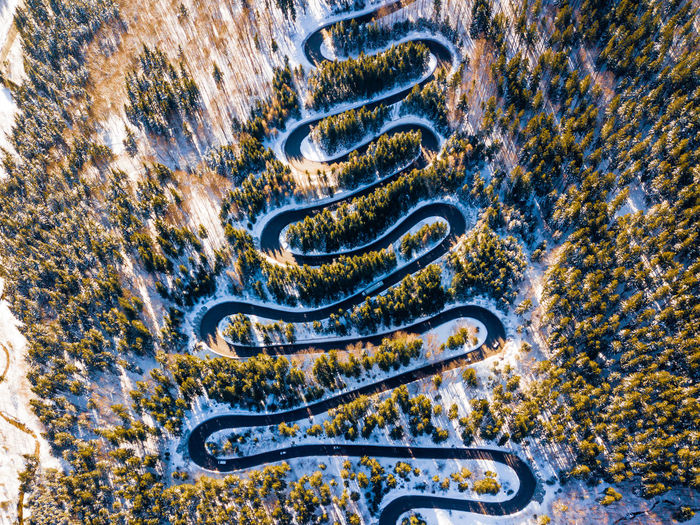 High angle view of winding road in winter
