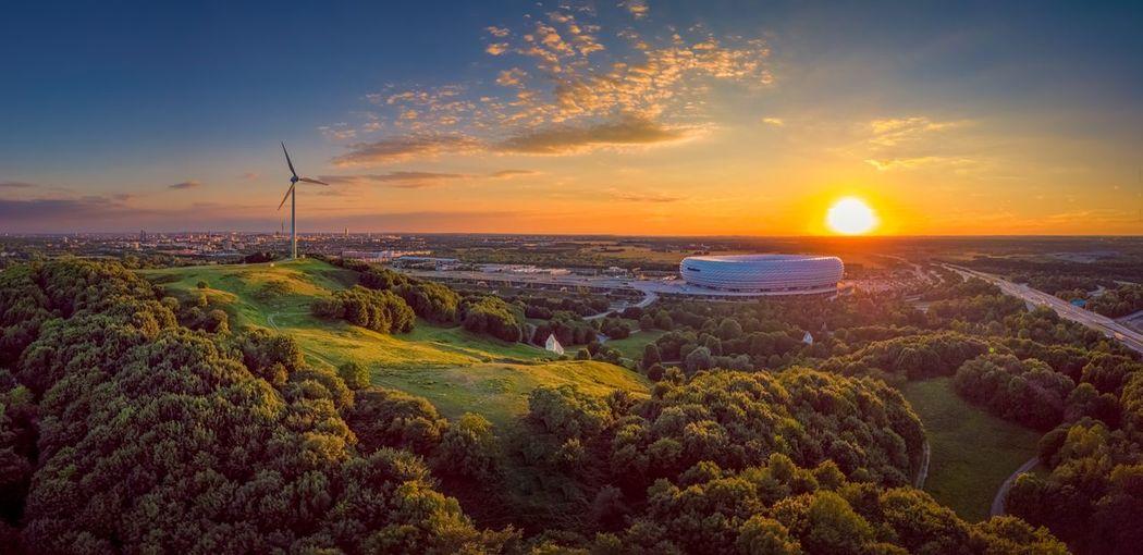 The Week On EyeEm EyeEm Selects Bundesligastart Allianzarena Soccer Aerial View Beauty In Nature Sunset Orange Color Sky Stadium Sport Landscape Munich, Germany