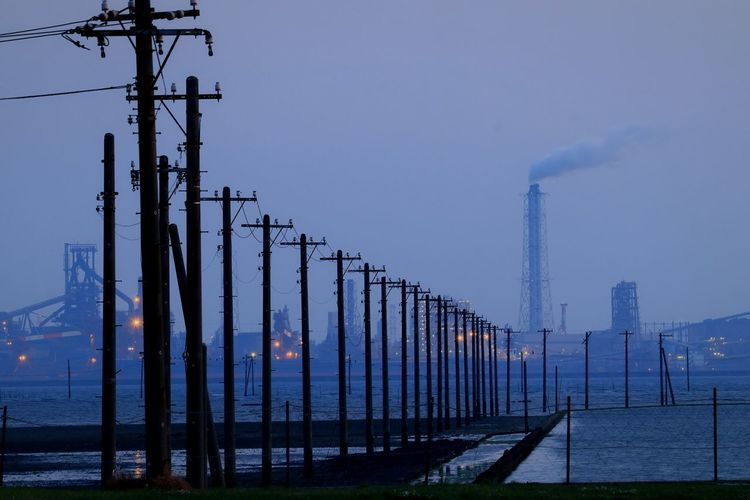No People Chiba Japan Seaside Factory Wire Utility Pole Sea Tokyobay Egawa Kaigan