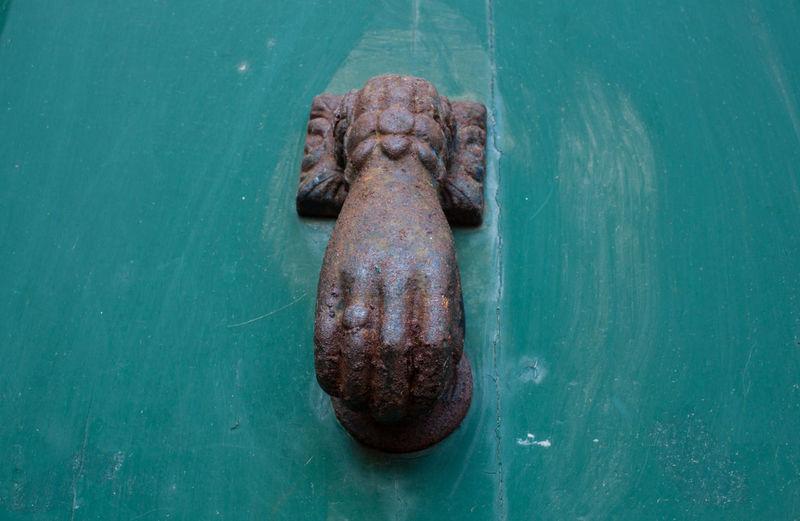 Close-up Cooper Day Door Doornail Hand No People Outdoors