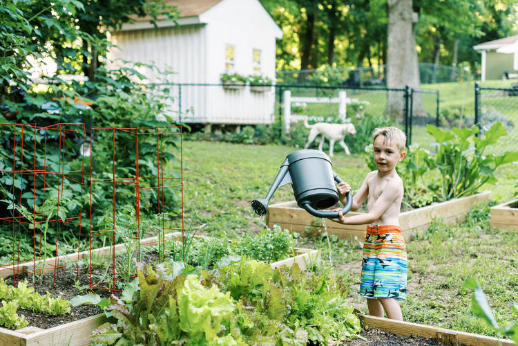 Full length of boy standing in yard