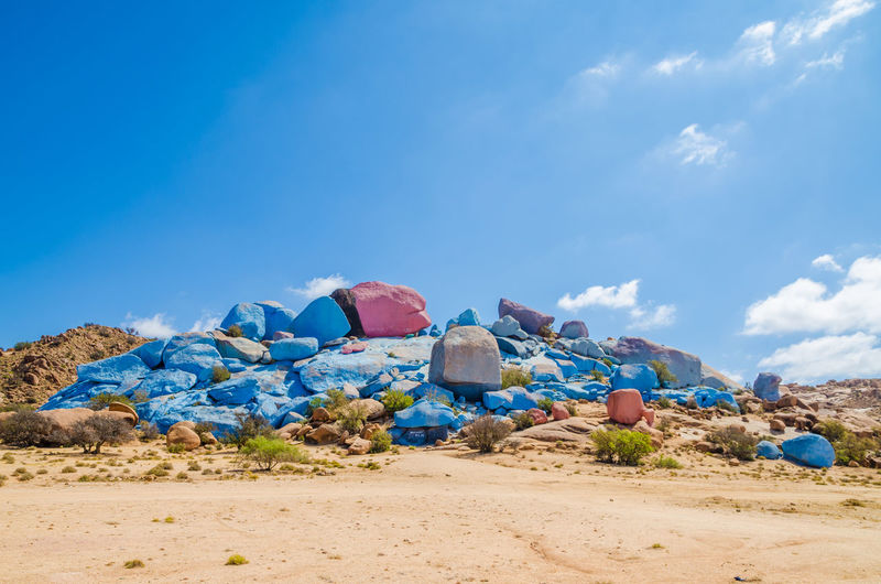 Famous Painted Rocks near Tafraoute, Morocco Morocco Painted Painted Rocks Rock Formation Art Arts Culture And Entertainment Beauty In Nature Blue Day Landscape Nature No People Outdoors Rock - Object Sand Scenics Sky Tafraout Tranquil Scene Tranquility