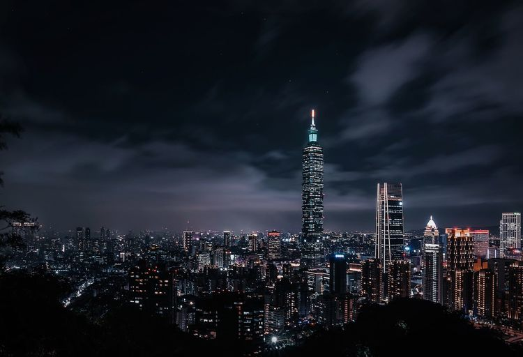 Taipei skyline Architecture Built Structure City Building Exterior Night Illuminated Sky Cloud - Sky Cityscape Skyscraper Office Building Exterior Tall - High Building Tower Nature Travel Destinations Travel Tourism Modern Crowd My Best Photo My Best Photo