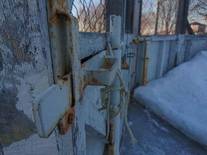 Close-up Lock Door Metal Rust Rusty Metal Snow Snow ❄ Winter