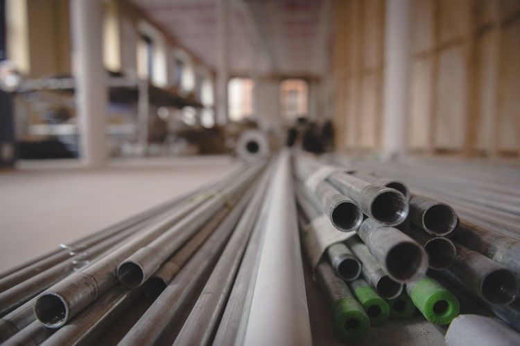 Close Up Of Pipes In Factory