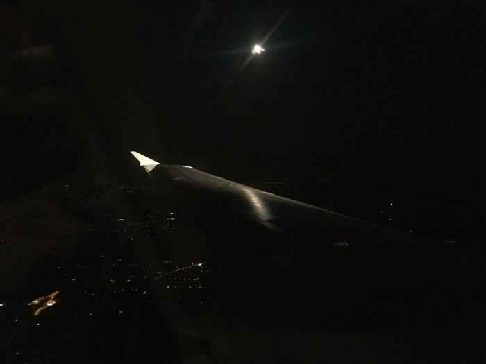 Flugzeug Moon Tragfläche Faro Flight Mitternacht Mondlicht Moonlight