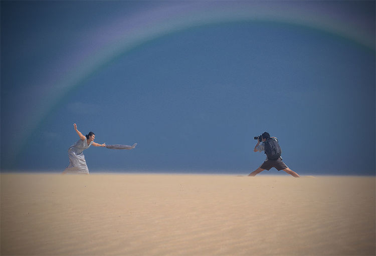 hunting with wife Happy Hunting Fun Desert Togetherness Sand Sky