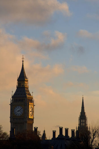 Big Ben And Palace Of Westminster Tower Against Sky