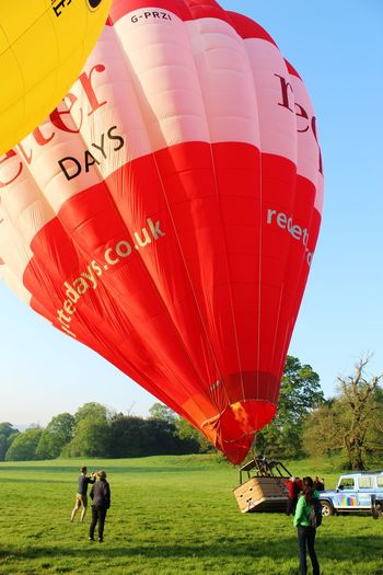Early Morning Air Vehicle Adventure Travel Red Hot Air Balloon Hot Air Balloon Air Vehicle Flying Sky Balloon Taking Off Inflating