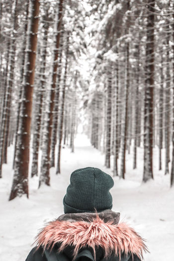 Rear view of person in snow covered forest