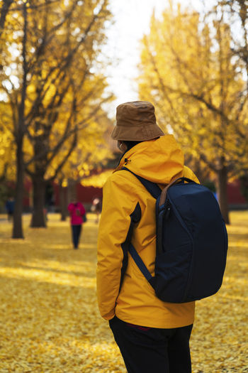 Rear view of people walking on yellow autumn leaves