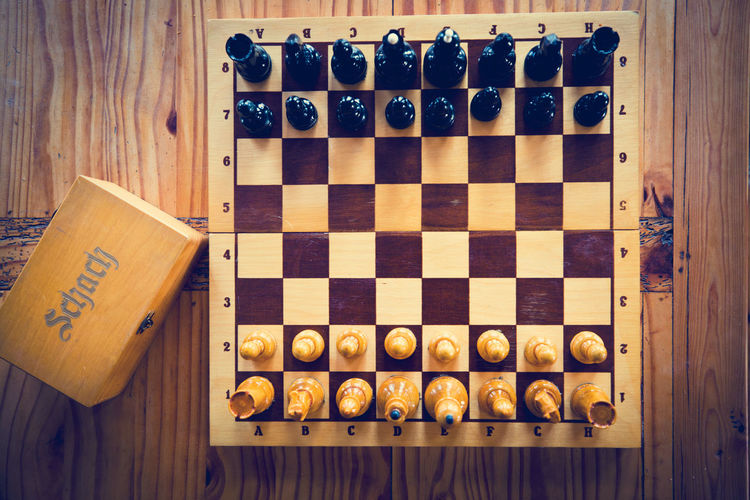 High angle view of chess board on table
