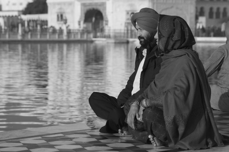 Adult Blackandwhite Photography Day Focus On Foreground Full Length Golden Temple India Morning Morning Rituals Outdoors People Real People