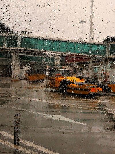 Water drops on glass window of rainy season