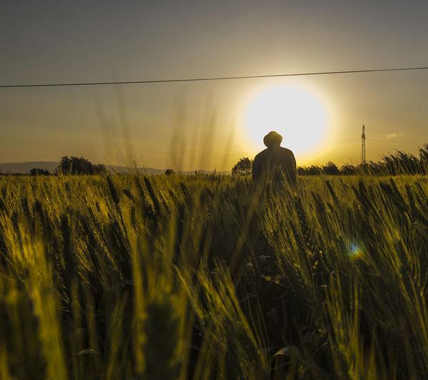 Farmer standing on field against sky during sunset
