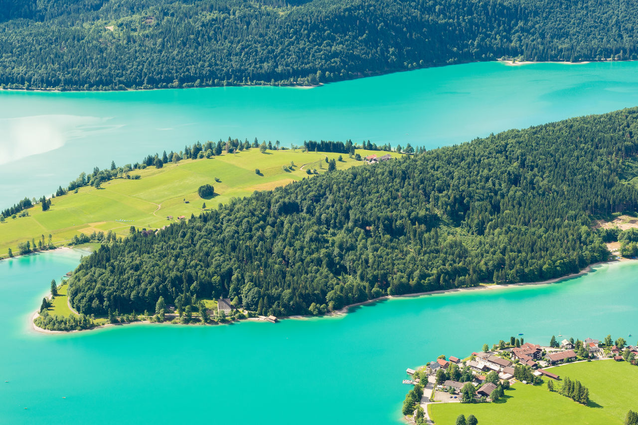 View from Herzogstand Bavaria Karwendel Katzenkopf Travel Aerial Alps Destination Europe Forest Germany Green Color High Angle View Idyllic Karwendelgebirge Lake Landscape Mountain Nature Outdoors Summer Tranquility Walchensee Water Woodlands Woods
