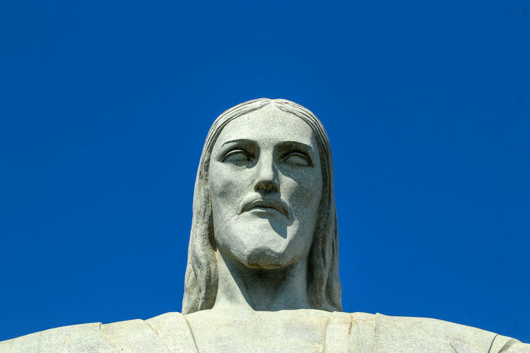 Cristo redentor head Cristo Redentor Headshot Statue Clear Sky Sculpture Spirituality Blue Religion Sky Close-up Monument Bust  Sculpted Historic National Monument Human Representation