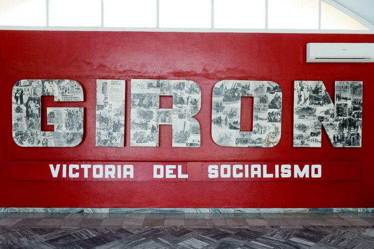 Bay Of Pigs Cuba Close-up Communication Day Girón Indoors  No People Red Text