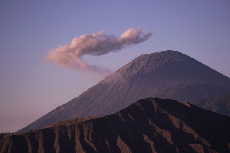 Mount semeru with a beautiful cloud crown, east java, indonesia.