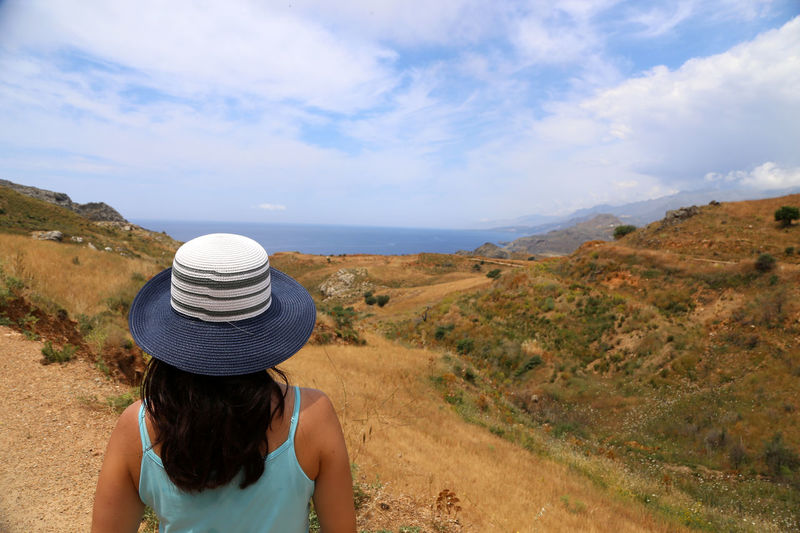 Crete Greece Hiking Beauty In Nature Casual Clothing Cloud - Sky Day Landscape Leisure Activity Lifestyles Men Mountain Nature Outdoors Real People Rear View Scenics Sea Sky Standing Women Plakias Plakias Bay Damnoni