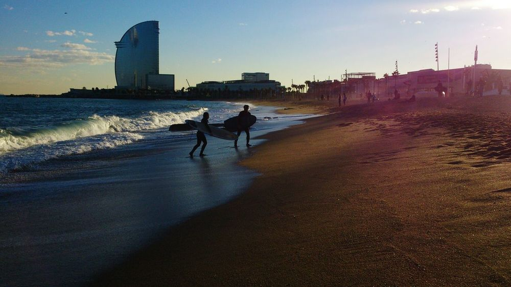 Waiting for a sunrise 🌊🌊 with surfers Surfing Surfers Sand Beach Sea Sunrise WTC Barceloneta Two People Sky Waves Surftime EyeEmNewHere